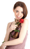 Young woman with red rose Royalty Free Stock Image
