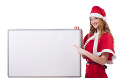 Young woman in red santa costume Royalty Free Stock Image