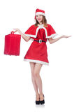Young woman in red santa costume Stock Images