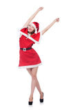 Young woman in red santa costume Royalty Free Stock Photos