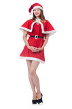 Young woman in red santa costume Stock Photography