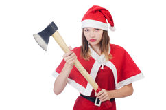 Young woman in red santa costume Royalty Free Stock Photography