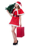Young woman in red santa costume Stock Photos