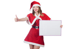 Young woman in red santa costume Royalty Free Stock Images
