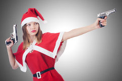 Young woman in red santa costume Royalty Free Stock Photo