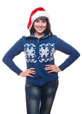 Young woman in red santa's hat Royalty Free Stock Photos