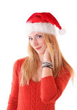Young woman in red Santa's hat Royalty Free Stock Images