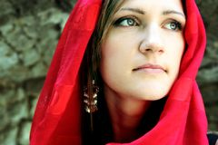 Young Woman with Red Scarf Stock Photography