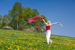 Young woman with a red scarf on a meadow Royalty Free Stock Photos