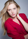 Young woman in red shirt Stock Photo