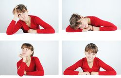 Young woman in a red sweater Royalty Free Stock Images