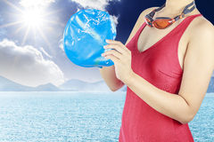 Young woman with red swimsuit Stock Images