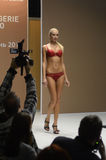Young woman in red underwear Moscow Lingrie Expo Fashion Show Royalty Free Stock Photography