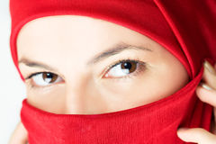 Young woman  in red veil Royalty Free Stock Photography