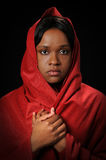 Young Woman with Red Veil royalty free stock photo