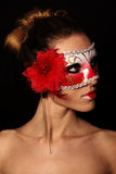 Woman in red mask Royalty Free Stock Photo