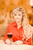 Young woman with red wine Royalty Free Stock Photo