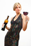 Young woman with red wine on white Royalty Free Stock Photo