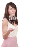 Young woman with red wineglass Stock Photo