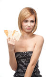 Young woman refusing to eat healthy bread Stock Photo