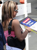 Young woman registers new voters Stock Photography