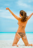 Young woman rejoicing on beach. rear view Stock Photos