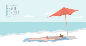 Young woman relax on the beach flat vector. Royalty Free Stock Images