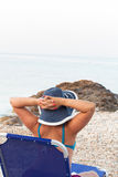 Young woman relax on  beach at fresh summer morning Stock Photo