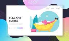 Young Woman Relax in Foamy Bath with Flying Bubbles. Happy Female Character Hygiene and Beauty Spa Procedure. Girl in Bath Tube. Website Landing Page, Web Page stock illustration