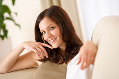 Young woman relax in lounge Stock Images