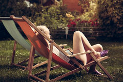 Young woman relax outdoors Stock Photography