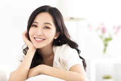 young woman relax on the sofa royalty free stock photography