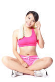 Young woman relax after sport stock image