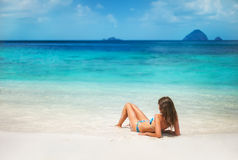 Young woman relax on the tropical beach Royalty Free Stock Photography
