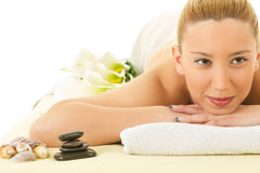 Young woman relaxation in spa salon Stock Photography