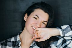 Young woman relaxed happy friendly brunette royalty free stock photography