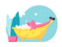 Young Woman Relaxing in Bath with Bubbles in Spa Hotel or at Home. Happy Female Character Hygiene and Beauty Procedure. Girl Washing Body Sitting in Foamy Bath vector illustration