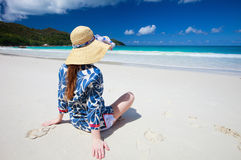 Young woman relaxing at beach Royalty Free Stock Photo