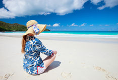 Young woman relaxing at beach Royalty Free Stock Photos