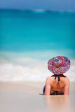 Young woman relaxing at beach Stock Images