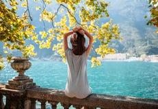 Young woman relaxing on beautiful Garda lake Stock Photography