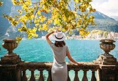 Young woman relaxing on beautiful Garda lake Stock Images