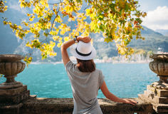 Young woman relaxing on beautiful Garda lake. Vacation concept Royalty Free Stock Photos