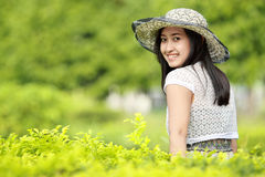 Young woman relaxing in the garden Royalty Free Stock Image
