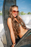 Young woman relaxing on hammock Stock Photo