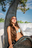 Young woman relaxing on hammock Stock Photography