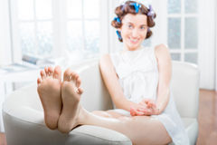Young woman relaxing at home Stock Photography