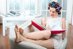 Young woman relaxing at home Royalty Free Stock Images