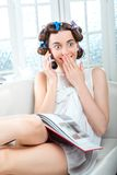 Young woman relaxing at home Stock Photo