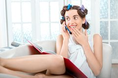 Young woman relaxing at home Royalty Free Stock Photo